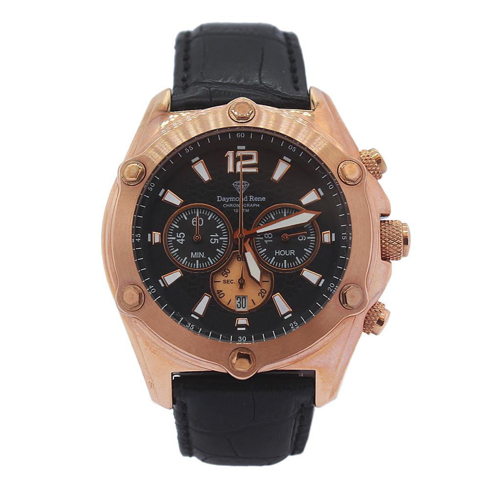 DR 10ATM Rose Gold Black Leather Chronograph Watch
