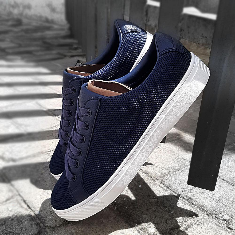 Active Blue Netty Fabric Leather Men Sneakers