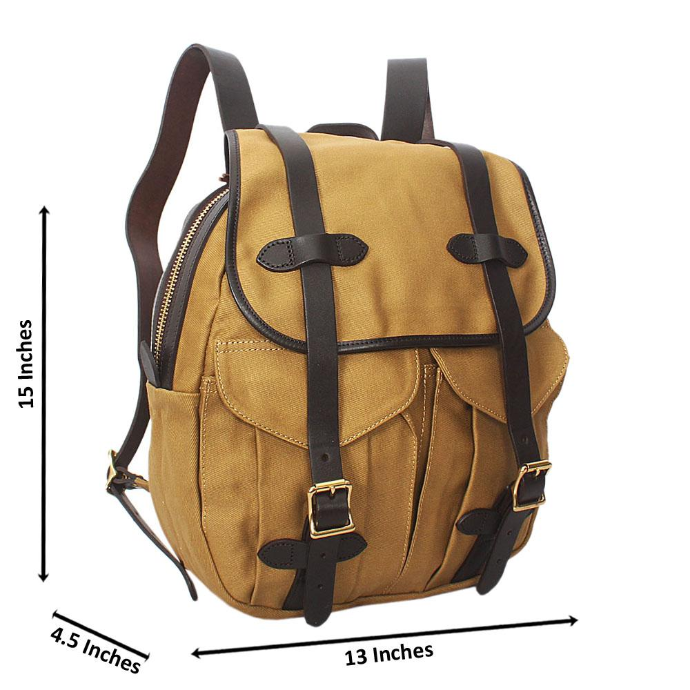 Brown Water Proof Khaki Leather Mix Backpack