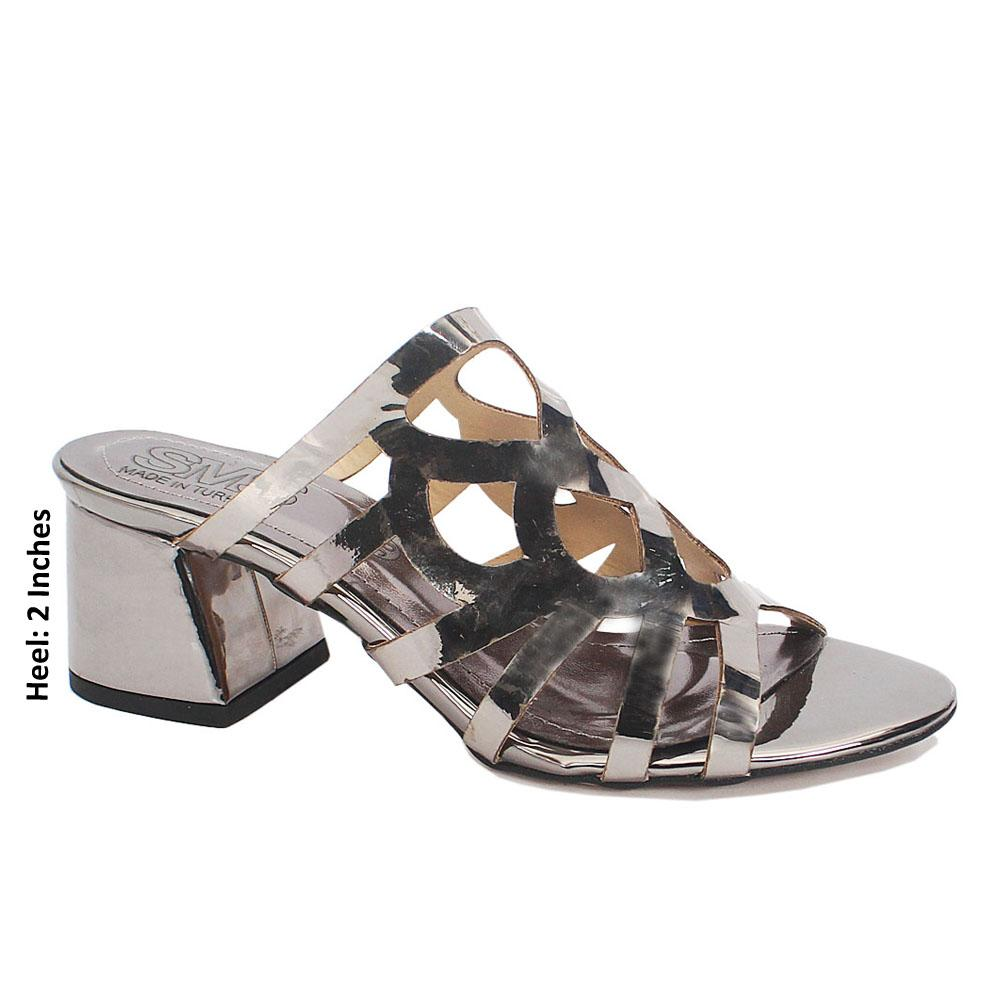 Gray Leather Open Toe Low Heel Ladies Mules