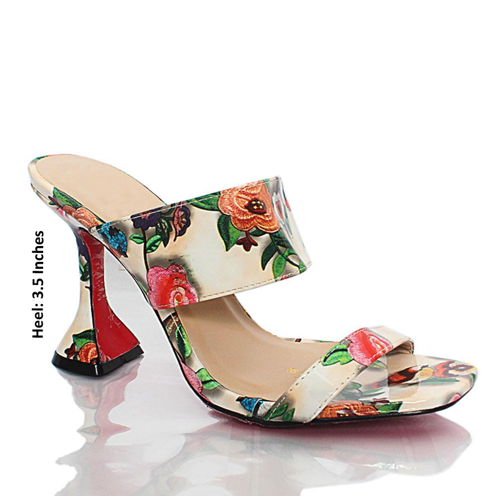 White Floral Graphic Print Patent Leather Mules