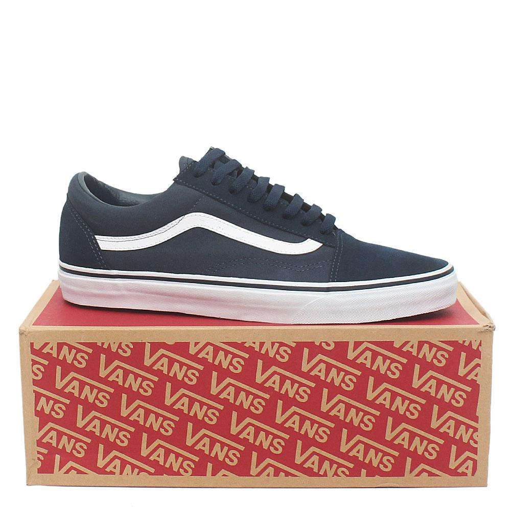 Vans Old Skool Navy Fabric Suede Leather Men Sneakers Sz 45