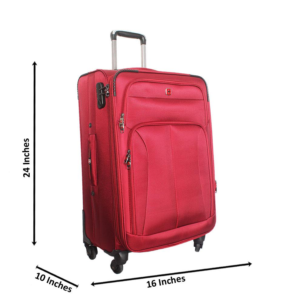 Saint Red 24 Inch Fabric 4 Wheels Spinners Medium Suitcase