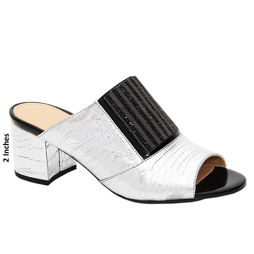 Silver Sierra Studded Tuscany Leather Mid Heel Mule