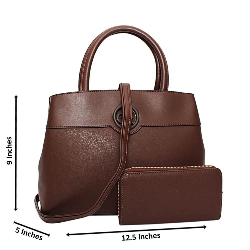 Coffee Esmeralda Leather Medium Tote Handbag