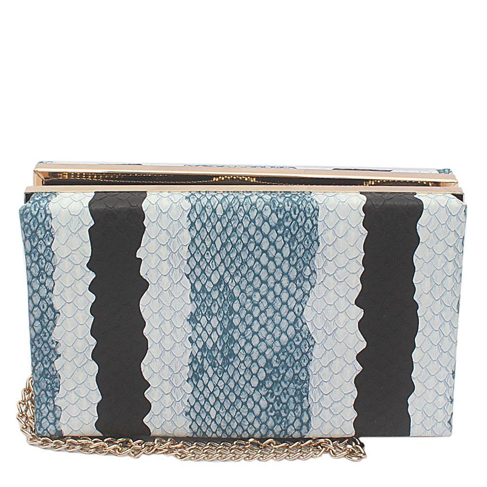 Navy Black White Leather Hard Clutch Wt Zip