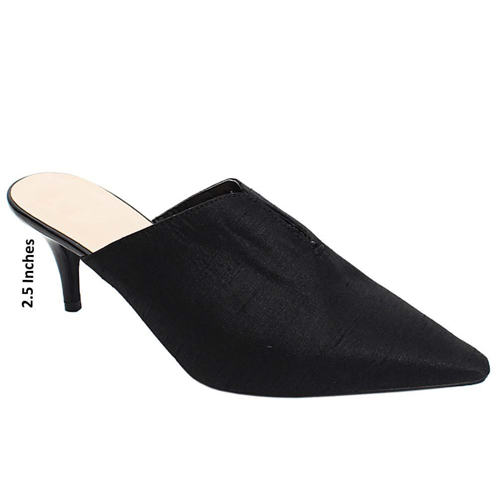Black Anette Fabric Leather Ladies High Heels