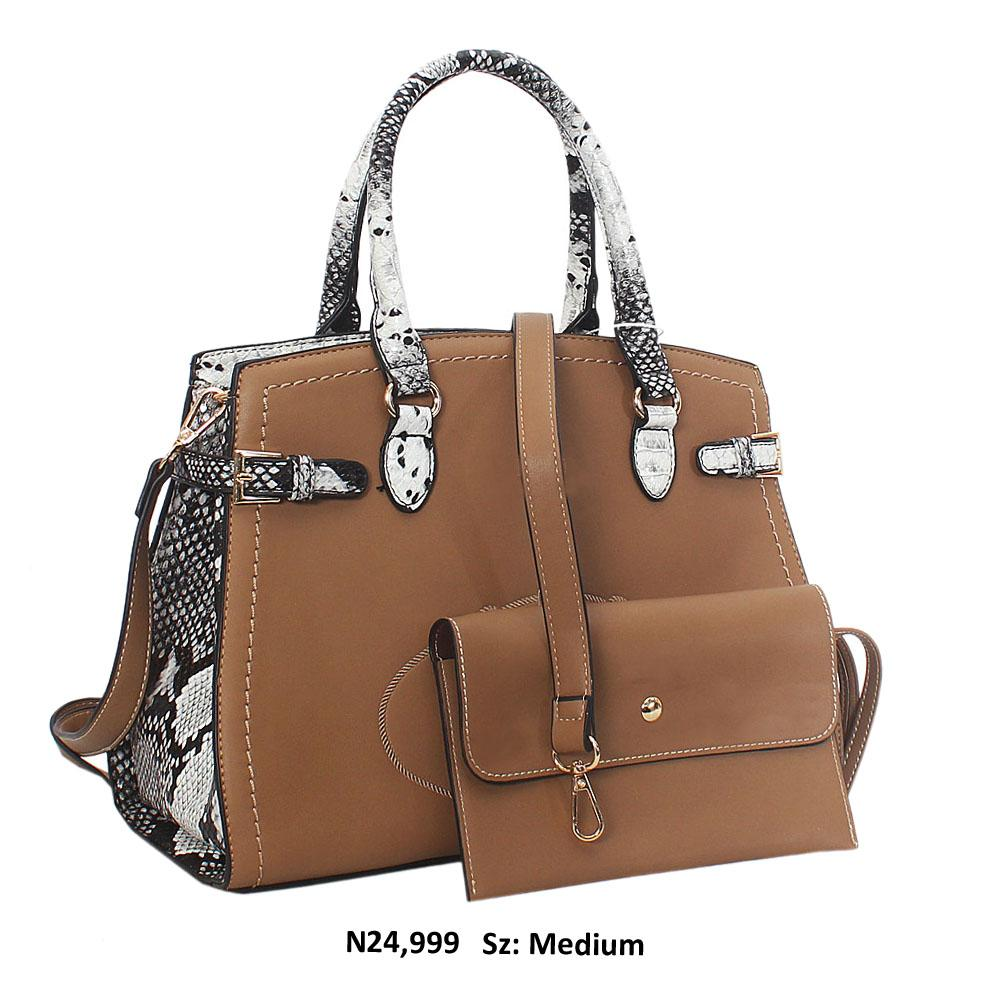 Khaki Snake Skin Style Leather Tote Handbag
