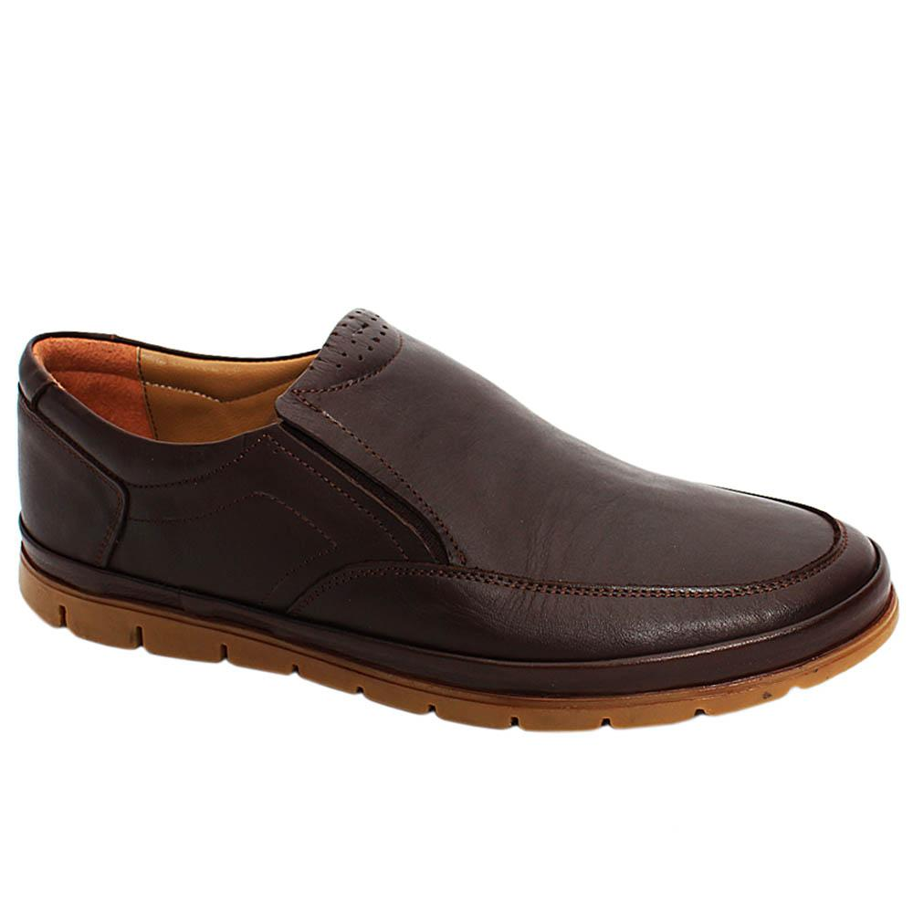 Brown Liam Leather Men Slipons