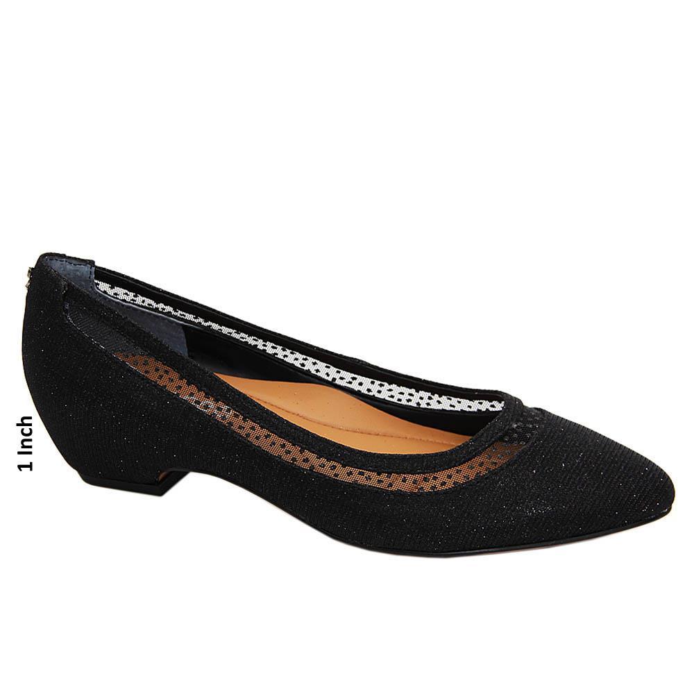 Black Nellie Glitter Fabric Leather Low Heel Pumps