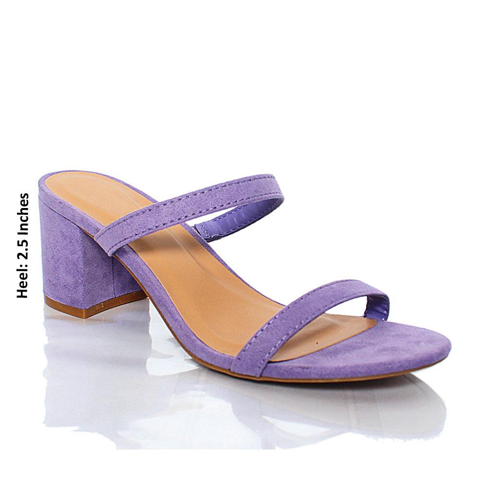 Purple Valeria Suede Leather Block Heel Mule