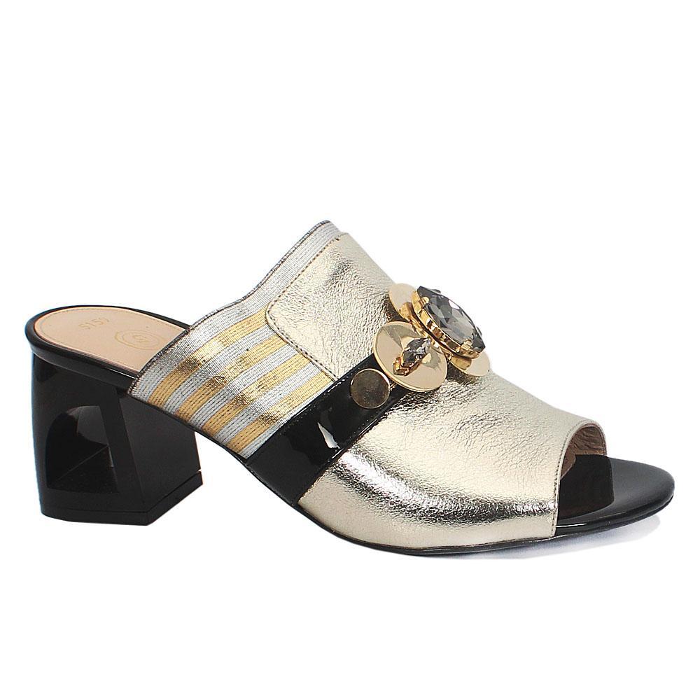 Gold Pukka Italian Leather Mule Sandals