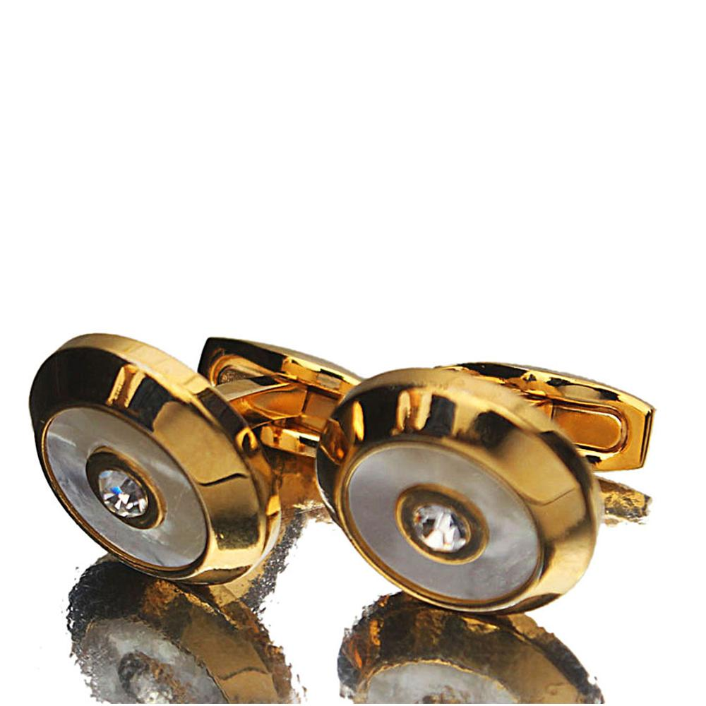 Gold Classic White Diamond stud Stainless Steel Cufflinks