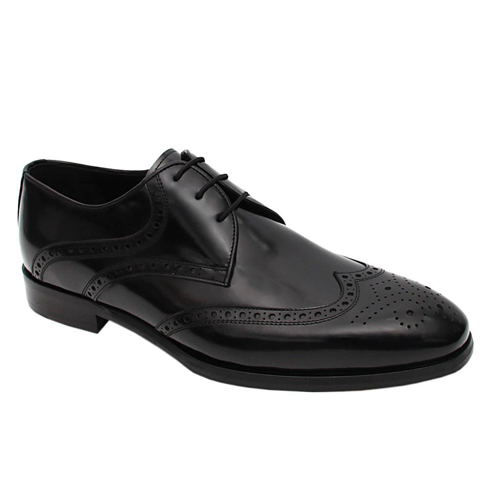 Black Emiliano Italian Leather Derby Shoes