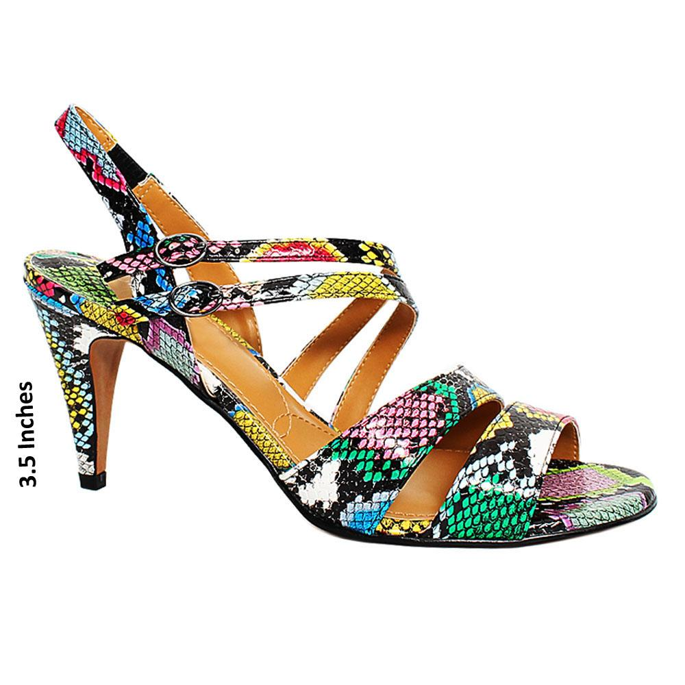 Multicolor Trick Snake Leather High Heel