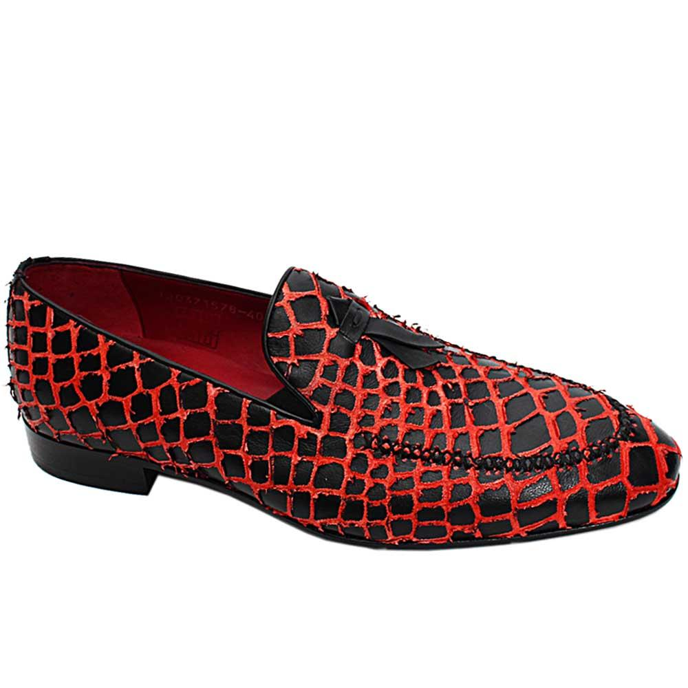 Black Red Harald Italian Leather Men Patterned Loafers