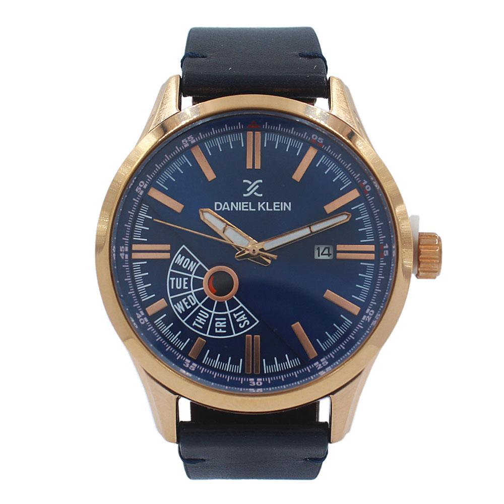 Daniel Klein Javier Rose Gold Navy Leather Fashion Series Watch