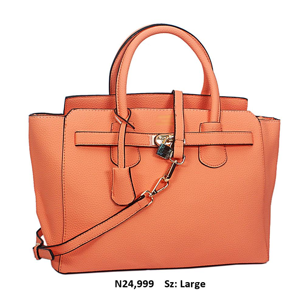 Peach Yolanda Leather Tote Handbag
