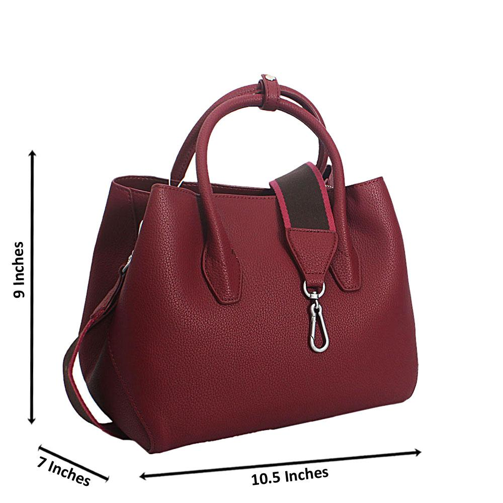 Wine Annalisa Leather Tote Handbag