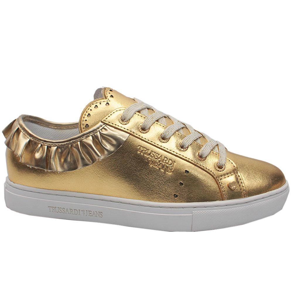 Sz 39 Trussardi Gold Glittering Leather Volant Sneakers