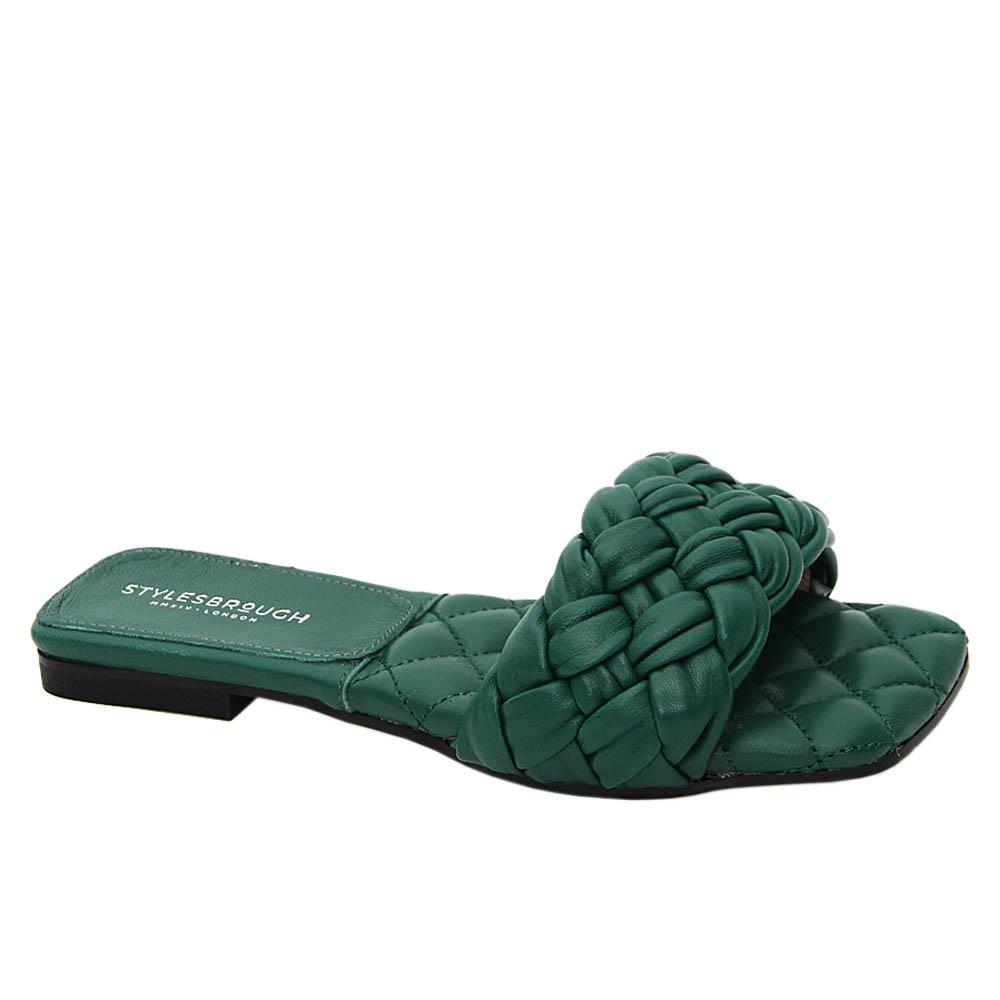Green Benedetta Tuscany Leather Women Flat Slippers