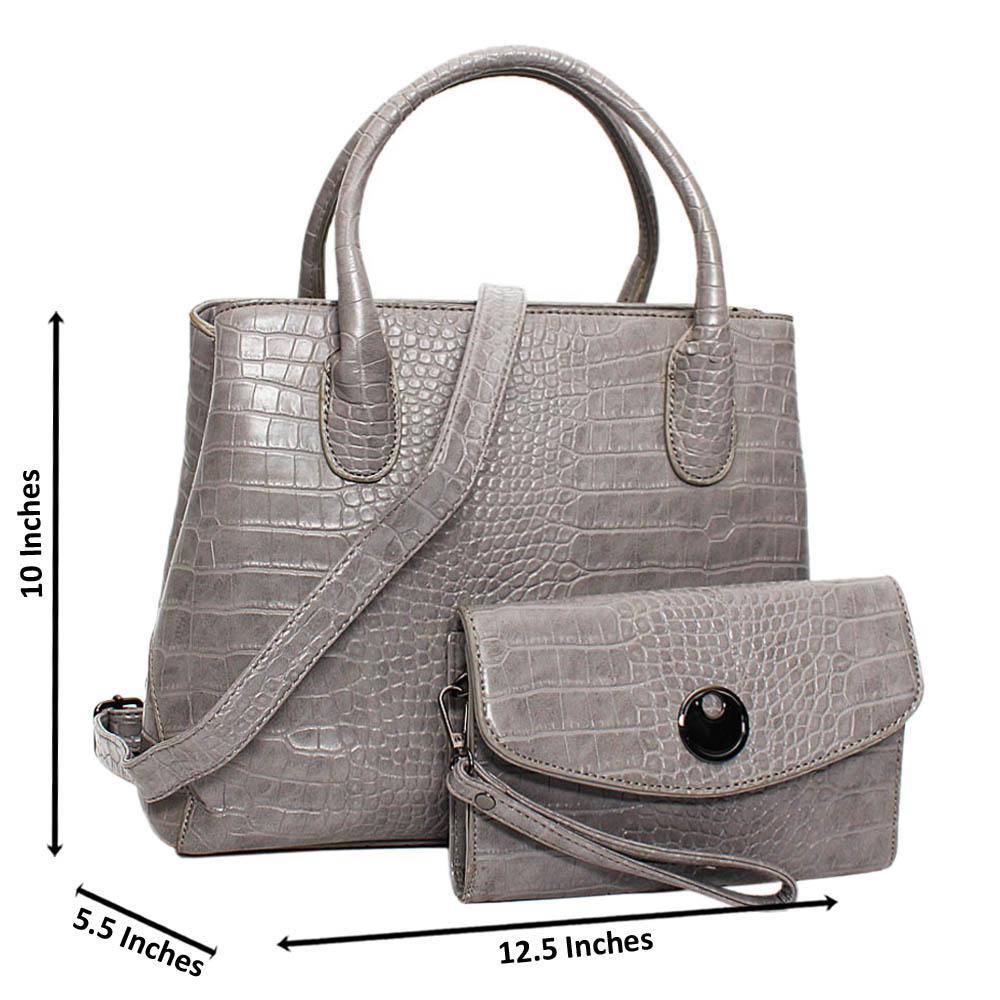 Gray Hazel Croc Leather Medium Tote Handbag