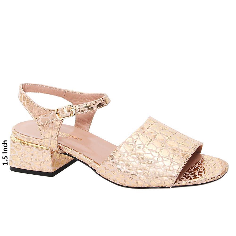Rose Gold Elisa Tuscany Leather Block Heel Sandals