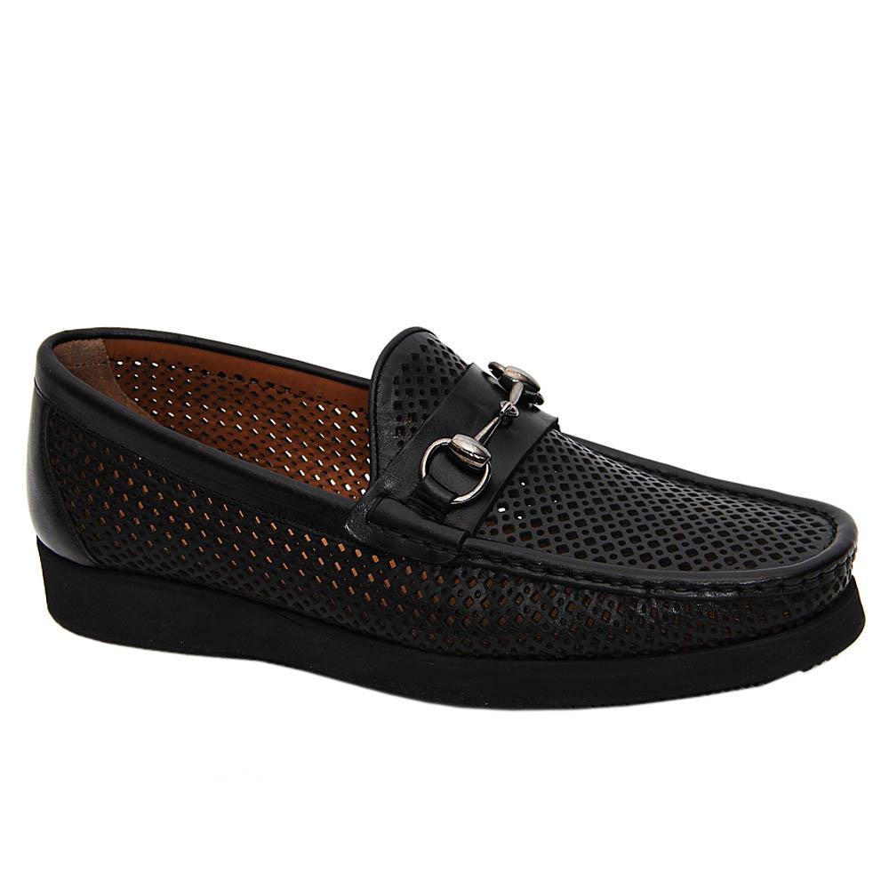 Black Perez Italian Leather Breathable Comfort Slipons