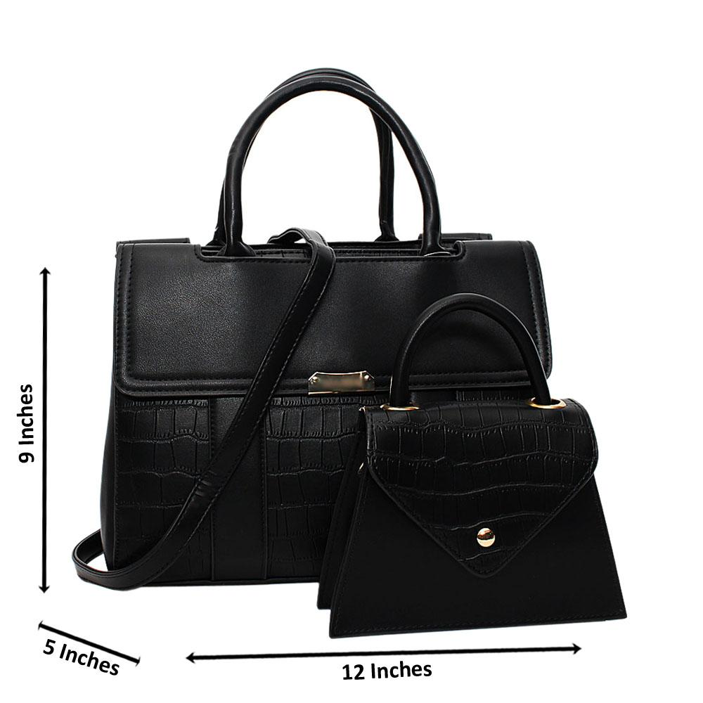 Black Tara Croc Leather Medium 2 in 1 Tote Handbag