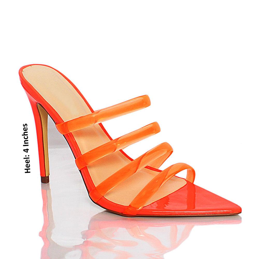 Orange AM Diane Rubber Top Leather High Heel Mule