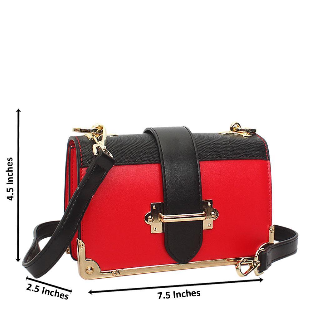 Red Black Isabella Leather Crossbody Handbag