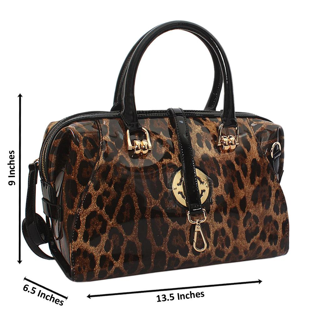 Tessa Alva Black Leopard Patent Cowhide Leather Tote Handbag