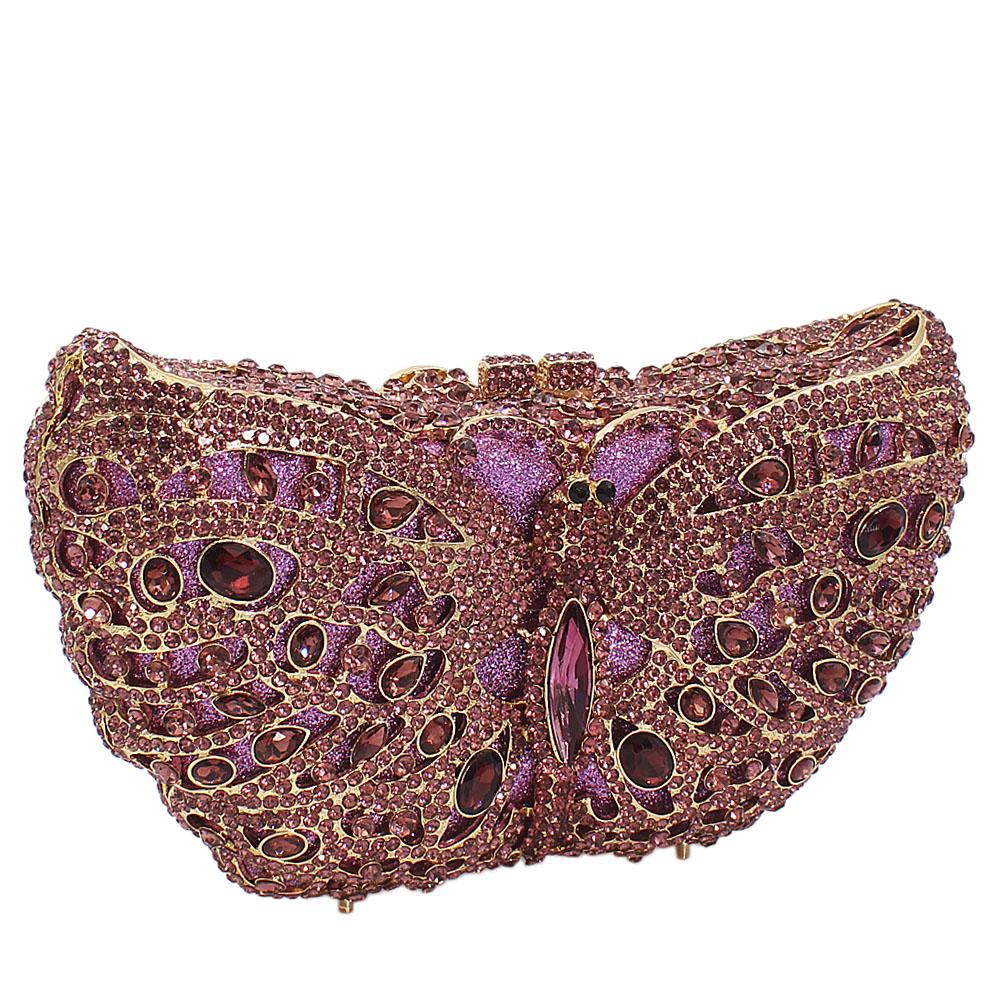 Purple Butterfly Diamante Crystal Clutch Purse