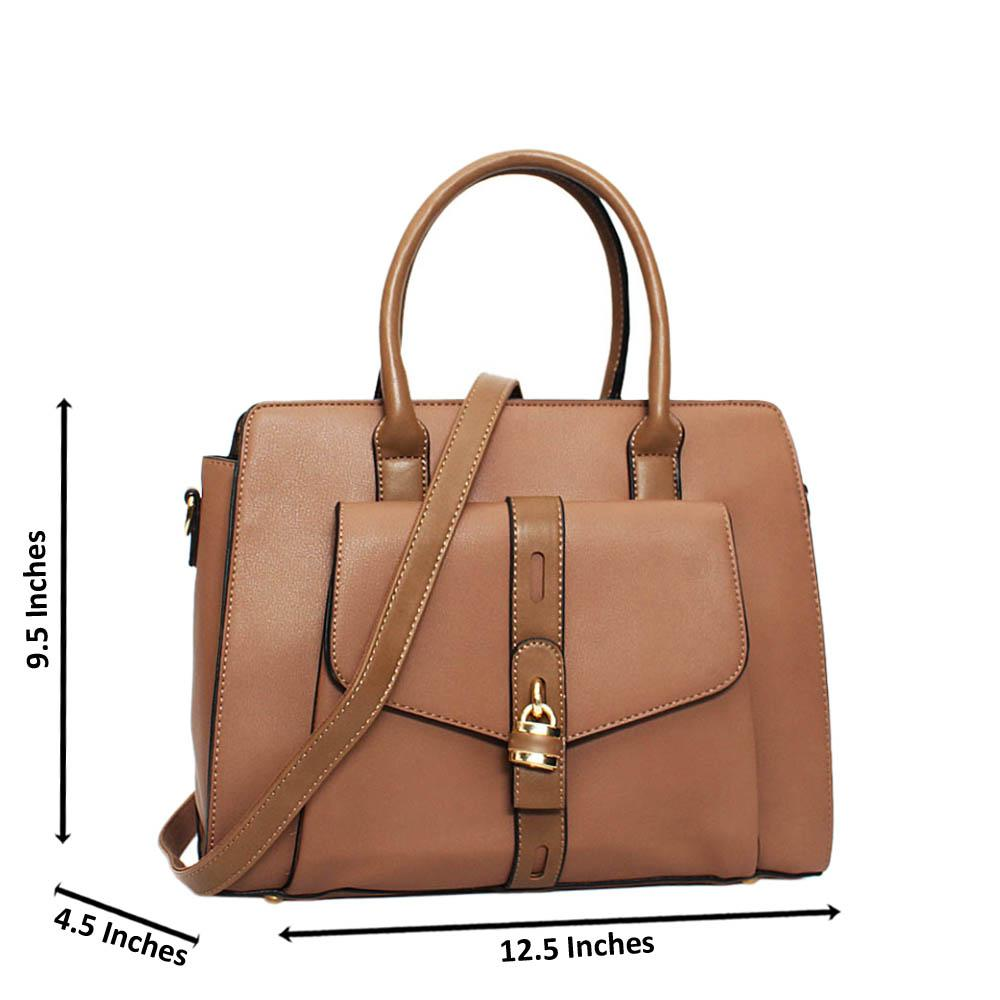 Khaki Aaliyah Leather Medium Tote Handbag