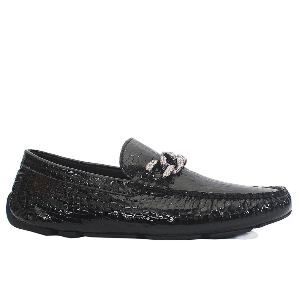 Black Croco Styled Patent Italian Leather Drivers Shoes