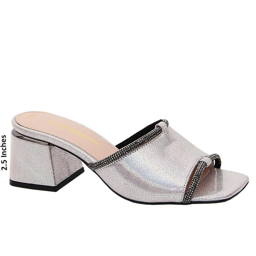 Silver Glittering Ivory Tuscany Leather Mid Heel Mule