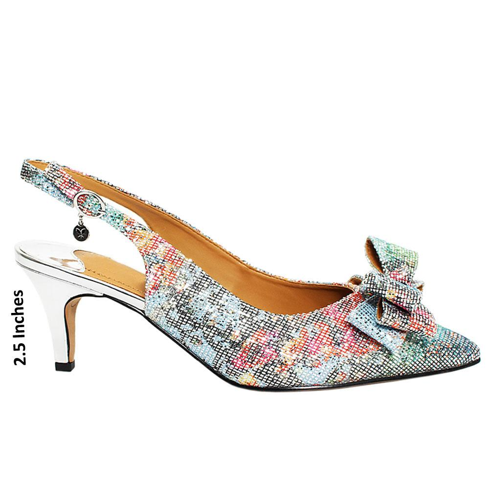 Silver Mix Sally Glitters Leather Slingback Heel