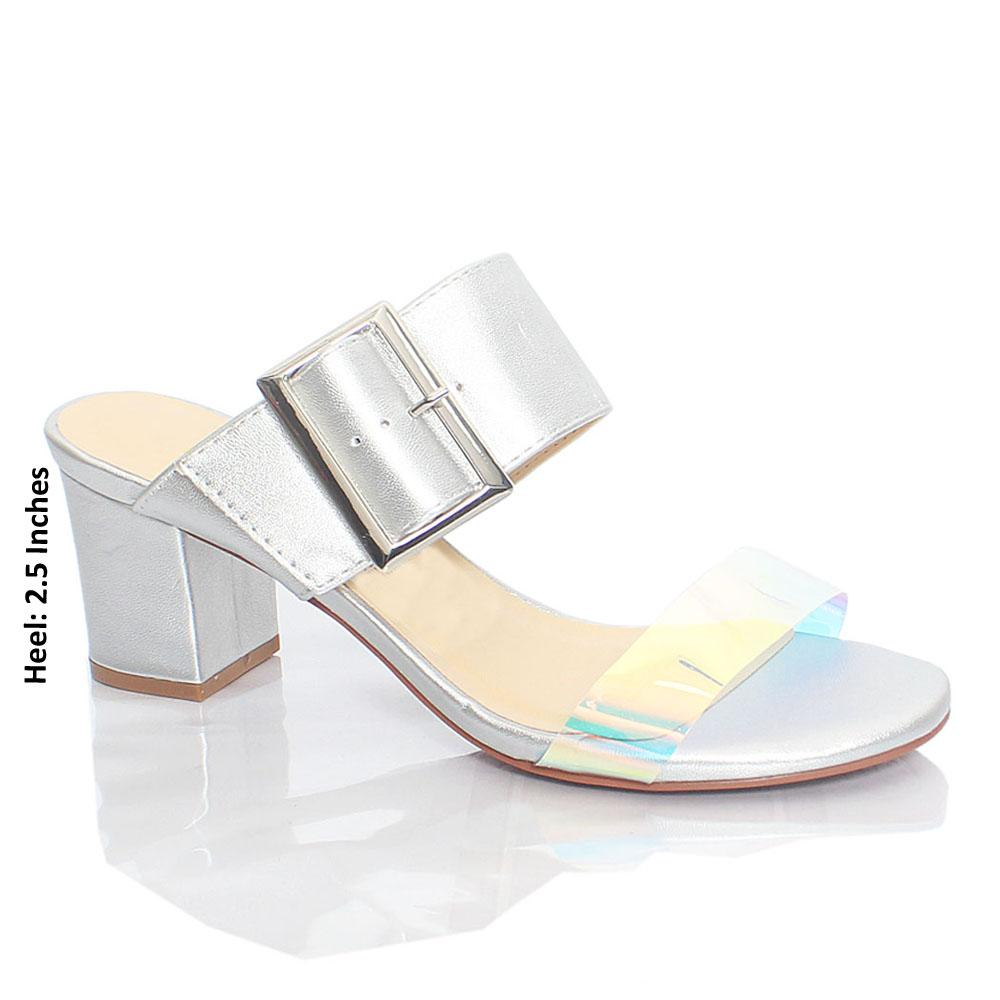Silver Gasha Reflective Rubber Leather Mule