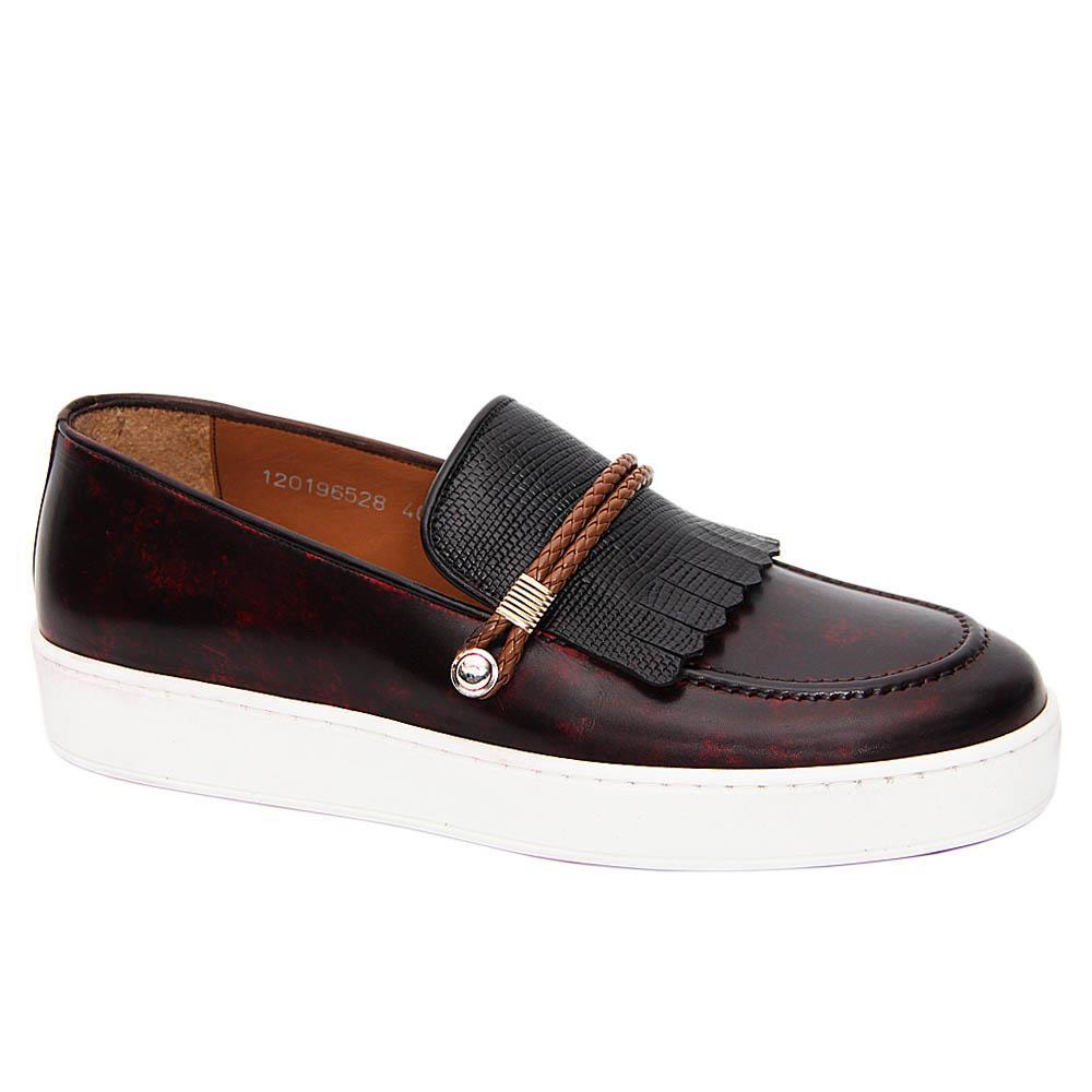 Wine Mix Raymond Italian Leather Fringe Slip-On Sneakers