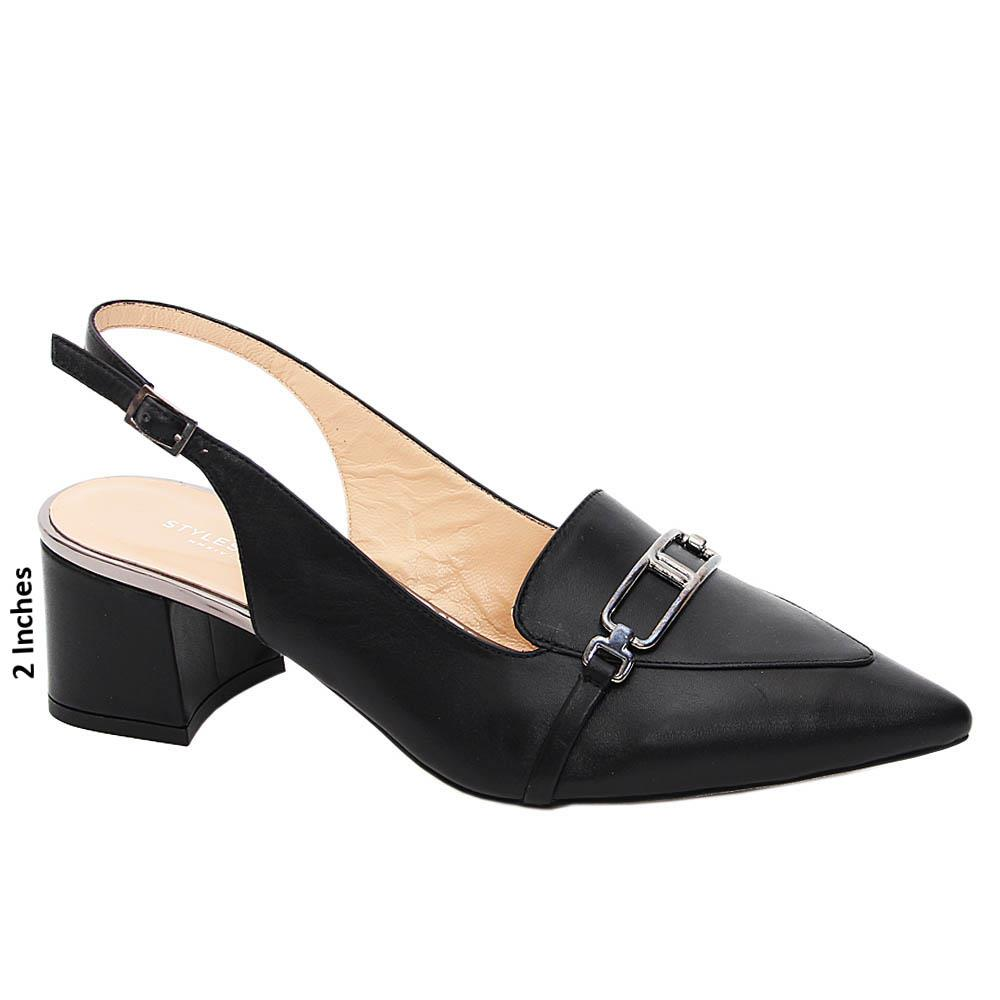 Black Kaisley Tuscany Leather Mid Heel Slingback Pumps