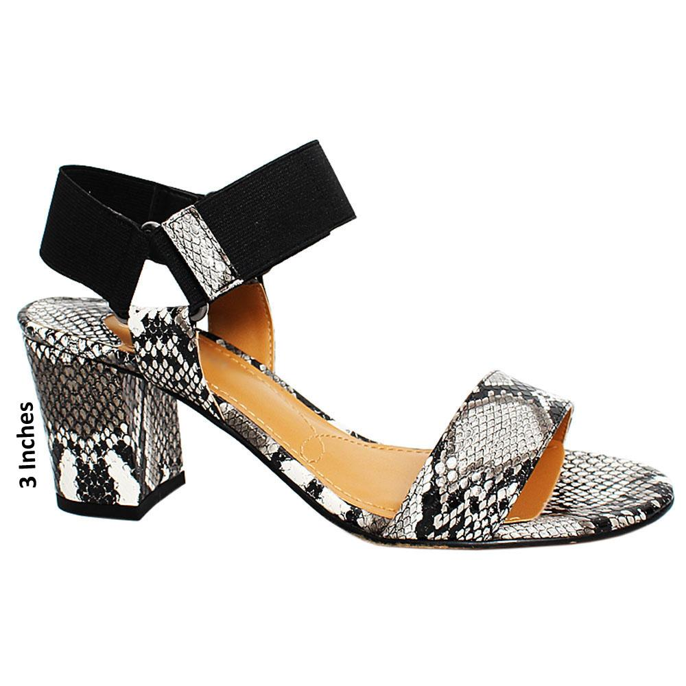 Monochrome Treasure Snake Leather Elastic Strap Heel