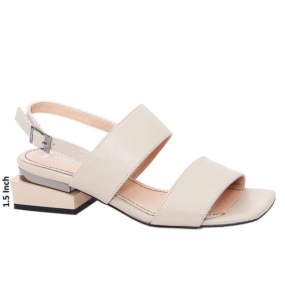 Beige Juana Tuscany Leather Block Heel Sandals