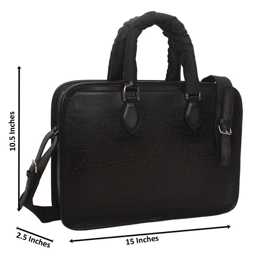Julia Cesaer Black Cow-Leather Man-Bag
