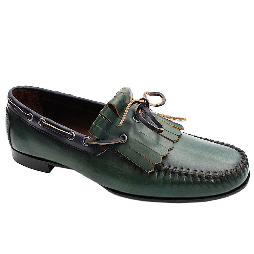 Green Yesil Alcobe Italian Leather Men Fringe Loafers
