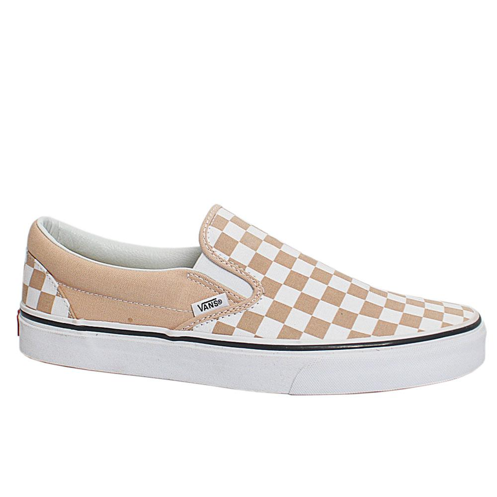Beige White Checkerboard Classic Slip On Loafers
