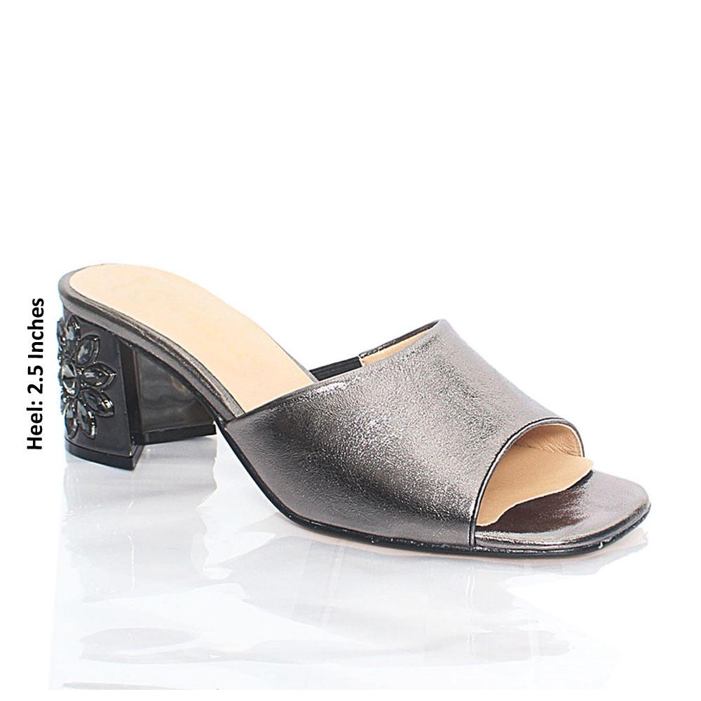 Dark Silver Luisa Shiny Italian Leather Mule