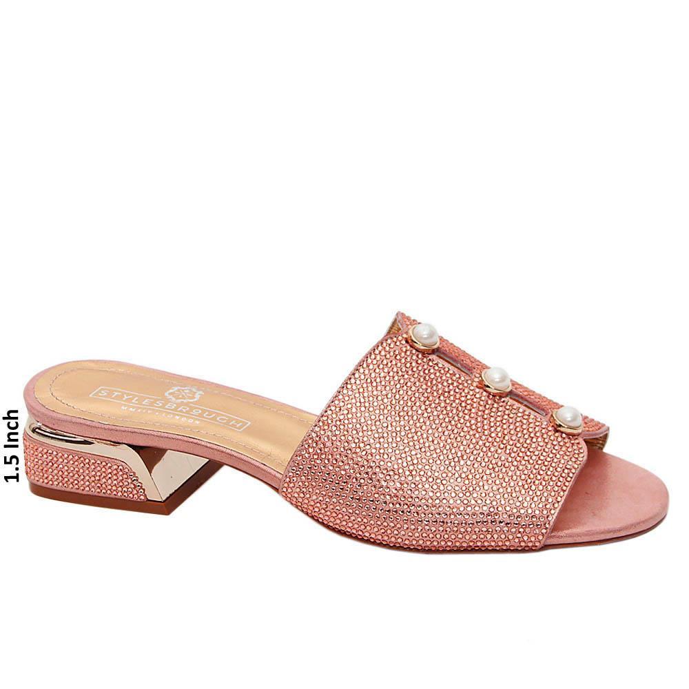Pink Alice Studded Italian Leather Mid Heel Mule