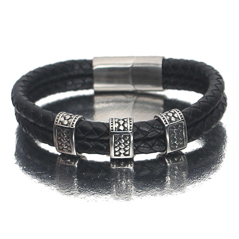 Silver Etched Black Leather Bracelet