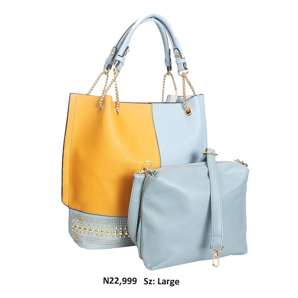 Aqua Blue Yellow Leather Chain Shoulder Handbag