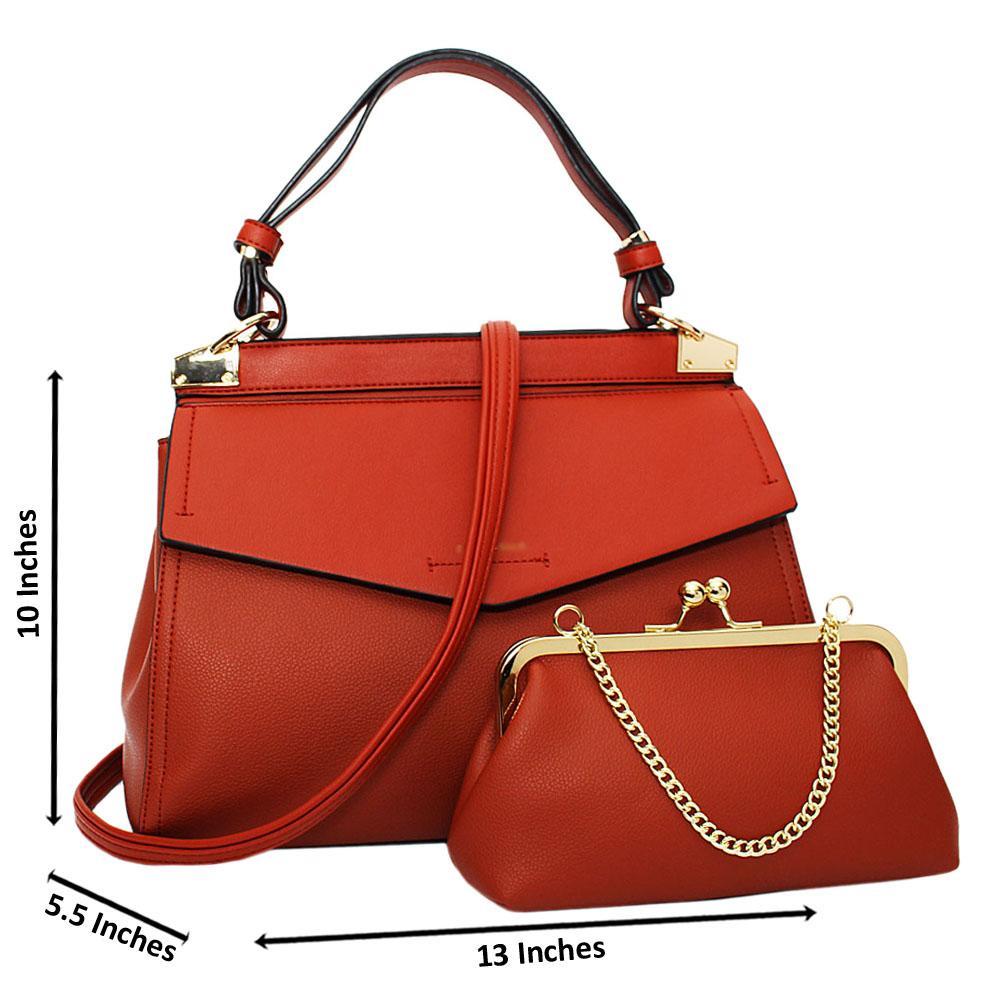 Burnt Orange Melissa Leather Medium Top Strap Handbag